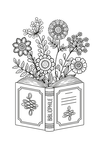 Black and white coloring book page for adult. Opened book. Reading book, imagination concept with doodle flowers
