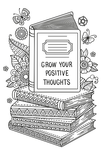 Black and white coloring book page for adult. Opened book. Reading book, imagination concept with doodle flowers. World Book Day.