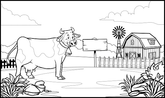 black and white coloring page cow in the ranch