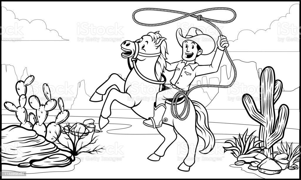 Vetores De Preto E Branco Colorir Cowboy Passeio De Pagina Do