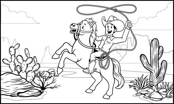 black and white coloring page cowboy ride the horse vector of black and white coloring page cowboy ride the horse rancher illustrations stock illustrations