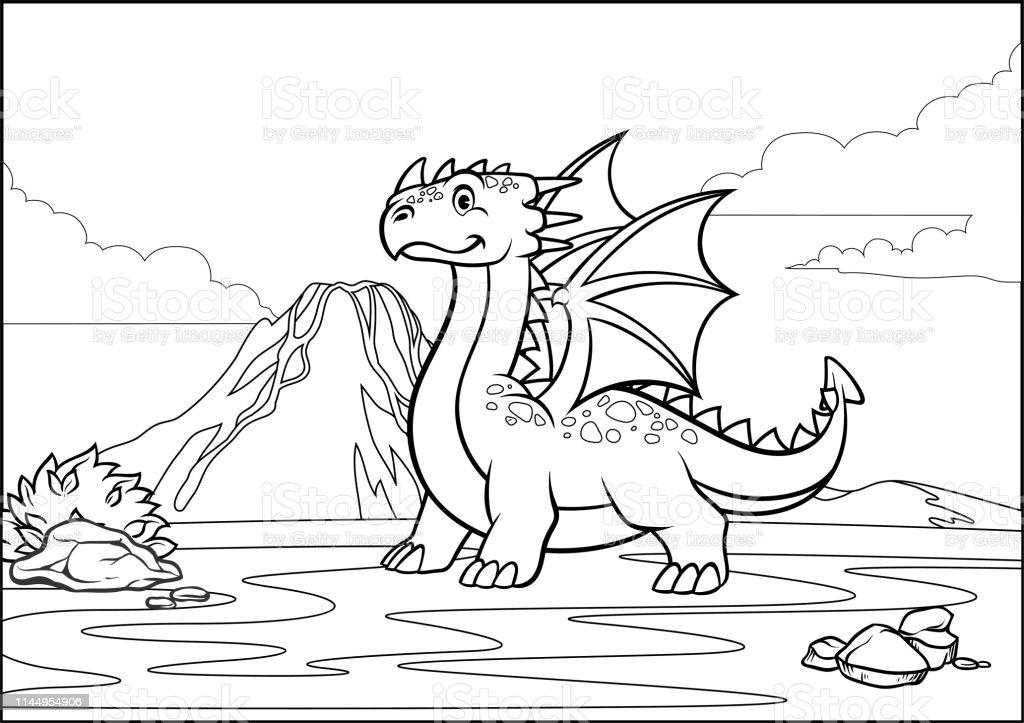 Coloriage Noir Et Blanc Page Dragon Et Volcan Montagne Vecteurs Libres De Droits Et Plus D Images Vectorielles De Aile D Animal Istock