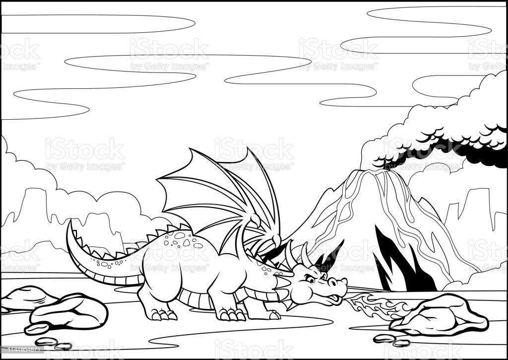 Coloriage Volcan.Noir Et Blanc Coloriage Dragon Dans La Montagne Du Volcan