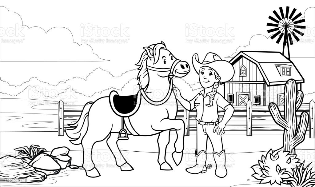 Black And White Coloring Page Happy Cowgirl With Her Horse ...