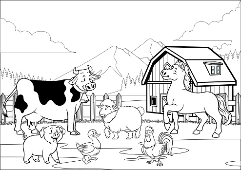 black and white coloring page happy farm animals gathering