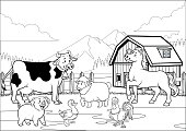 vector of black and white coloring page happy farm animals gathering