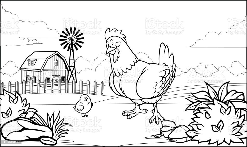 Onu Civciv Ile Ciftlikte Siyah Ve Beyaz Boyama Sayfasi Tavuk Stok