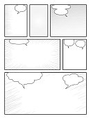 black and white comic book template with halftone effects and speech bubbles