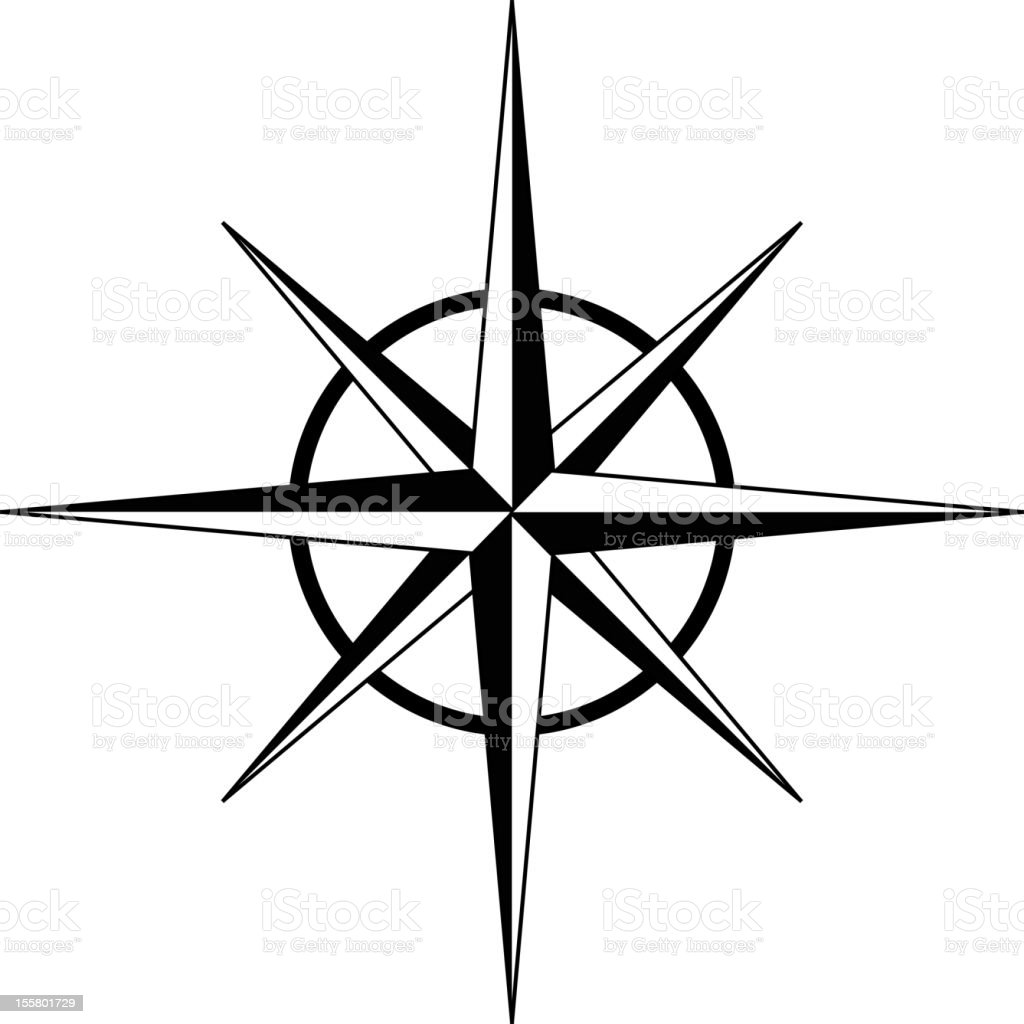 Black And White Compass Rose In White Background Stock ...