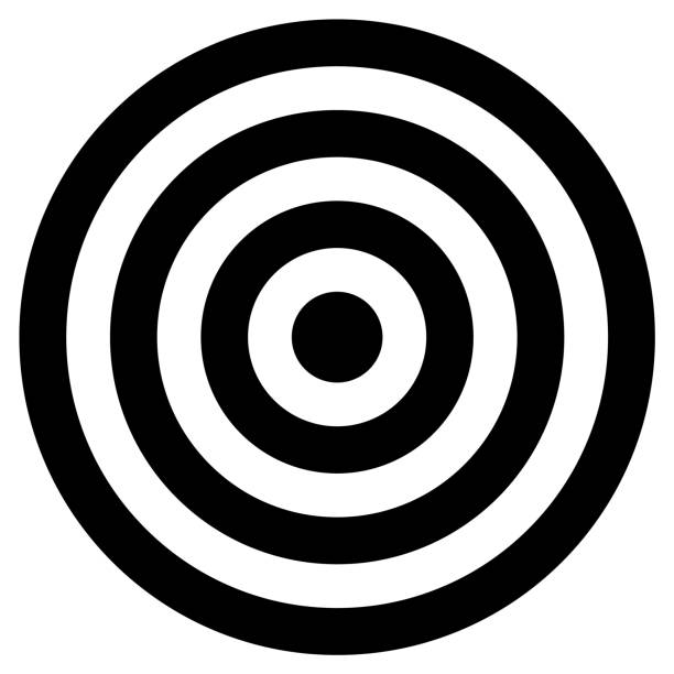 Black and white concentric cirlcles Black and white concentric cirlcles sports target stock illustrations