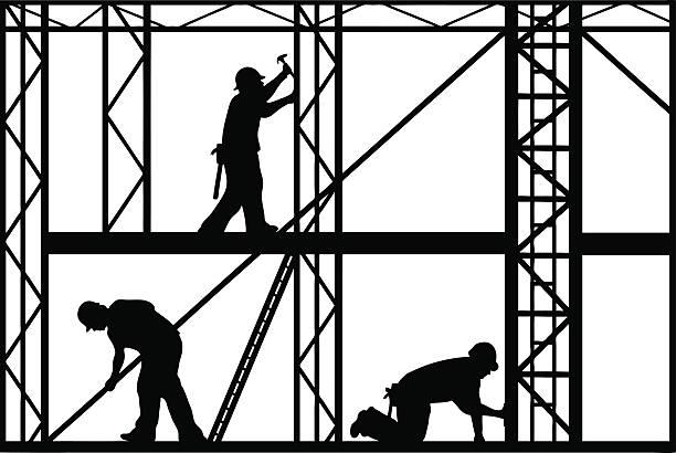 bildbanksillustrationer, clip art samt tecknat material och ikoner med black and white construction workers silhouette - construction workwear floor