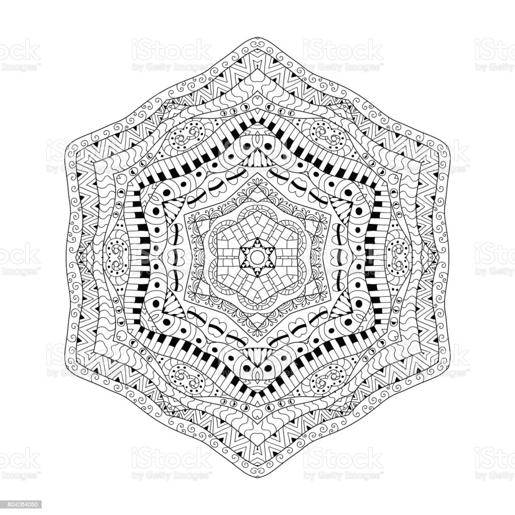 Black and white contour background. Ornamental ethnic pattern. Coloring book page for adult anti stress.