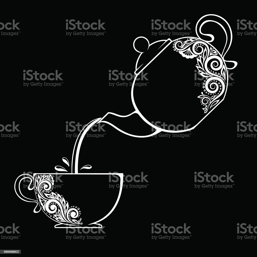black and white contour of the Cup and teapot. vector art illustration