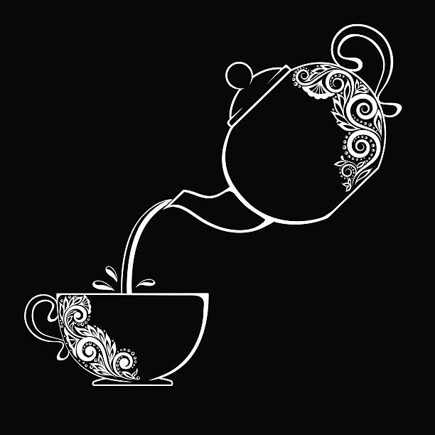 black and white contour of the Cup and teapot. Beautiful black and white contour of the Cup and teapot. floral element isolated. Floral design greeting card and invitation of wedding, birthday, Valentine's Day, mother's day and seasonal holiday teapot stock illustrations