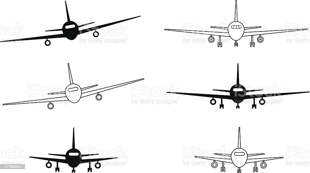 Ilustración de Aviones Blanco Y Negro Contour y más banco de ...