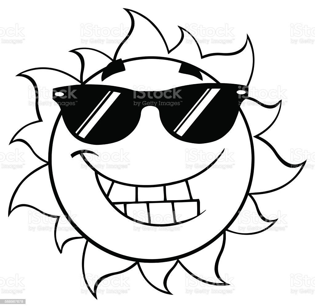 royalty free sun clipart black and white pictures clip art vector Happy Clip Art black and white cool cartoon sun mascot vector art illustration