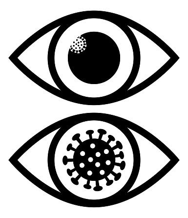 Black And White Coronavirus Eye Icons