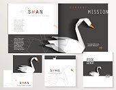 black and white corporate identity stationery set with white swan