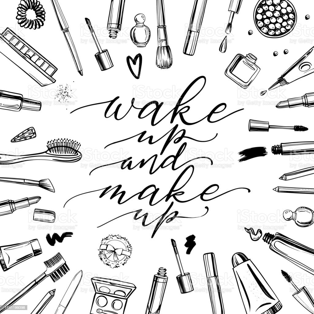 Black and white cosmetics background with lettering wake up and make...
