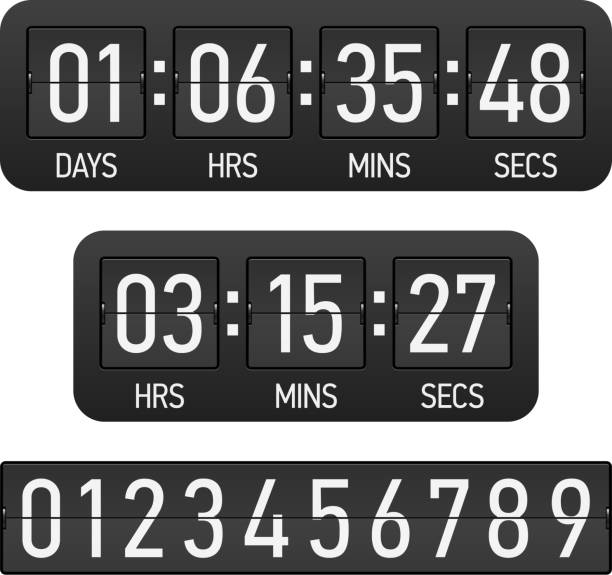 Black and white countdown timer vector art illustration