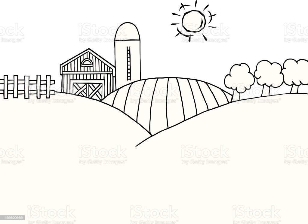 Black And White Country Farm Stock Illustration - Download ...