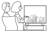 Vector Black and White, Couple enjoying watching a TV at home flat