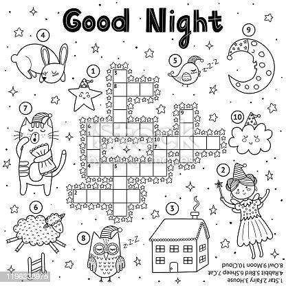 Black and white crossword game for kids. Good night theme coloring page. Sweet dreams quiz activity with cute characters for children. Vector illustration