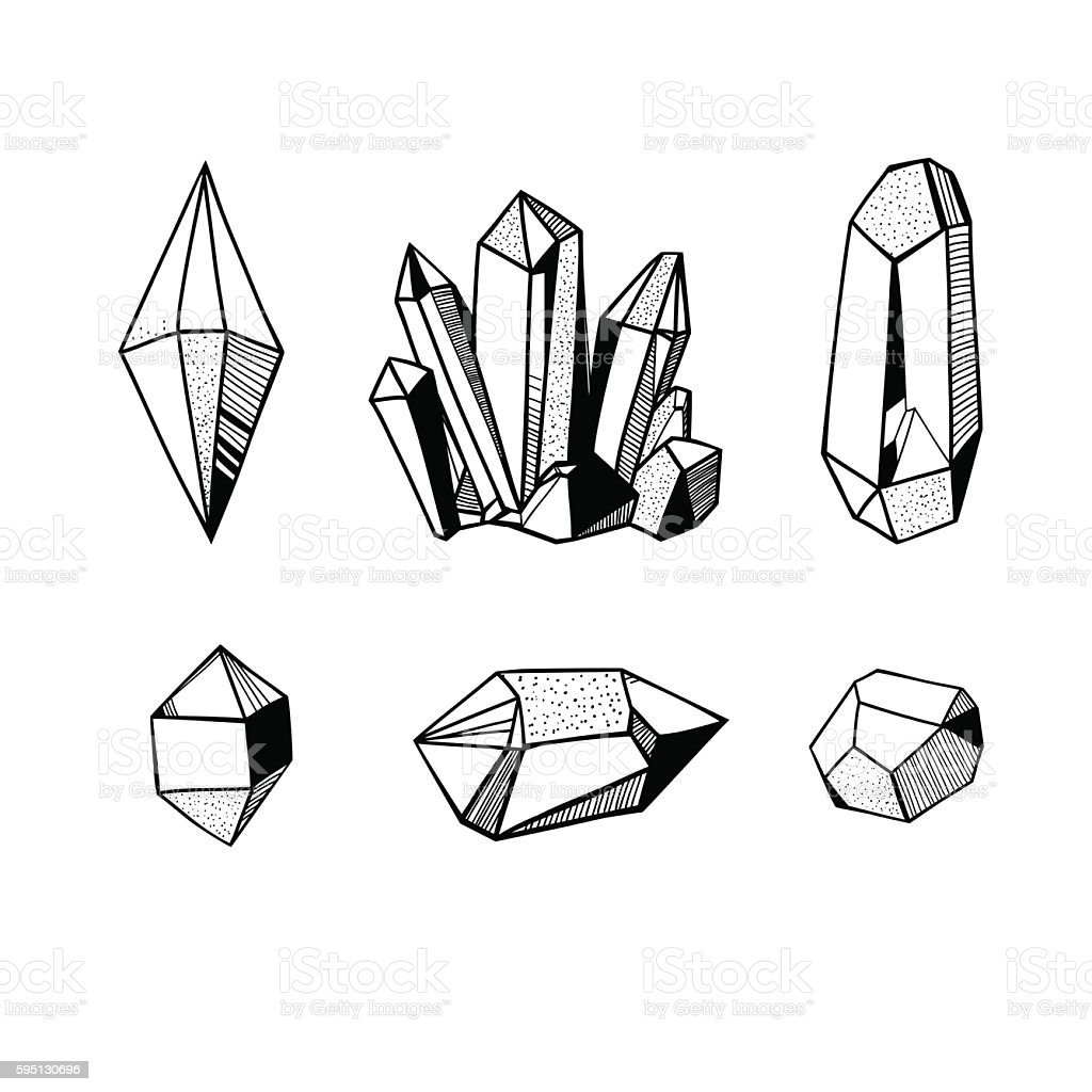 black and white crystals and minerals vector art illustration