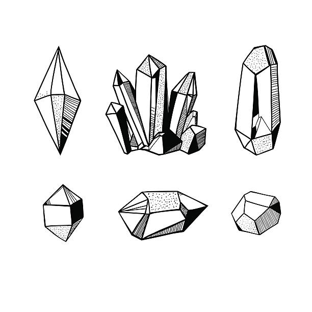black and white crystals and minerals hand drawn crystals set, black and white vector illustration with crystals and gems and minerals crystals stock illustrations