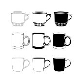 Black and white cup set. Vector icon on white background.