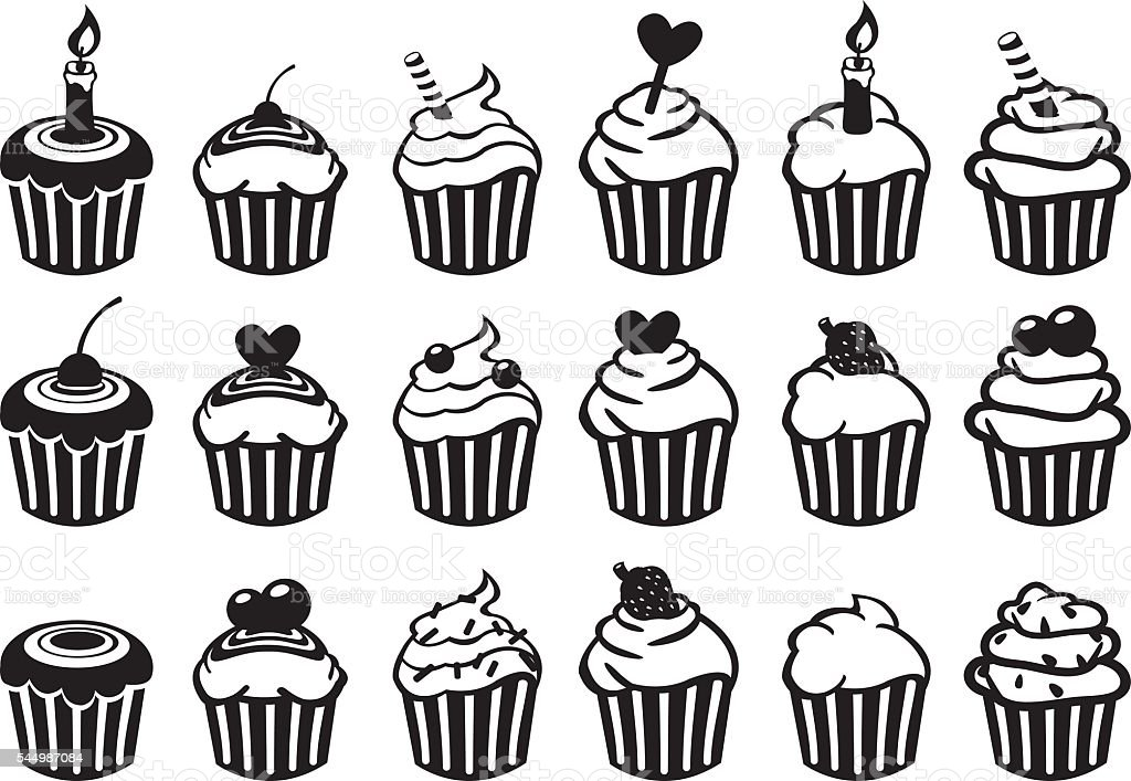 Black And White Cupcake Vector Icon Set Stock Vector Art