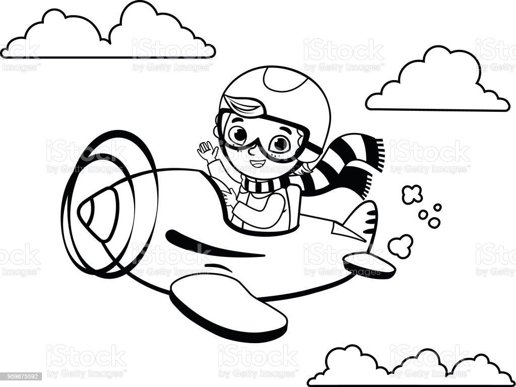 Siyah Ve Beyaz Sevimli çocuk Pilot Uçakta Uçuyor Stok Vektör Sanatı