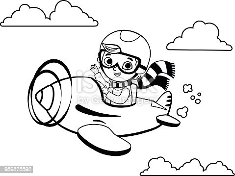 Black and white cute boy pilot flies on a plane. Cartoon vector illustration.