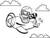 Black and white cute boy pilot flies on a plane. Cartoon vector illustration.