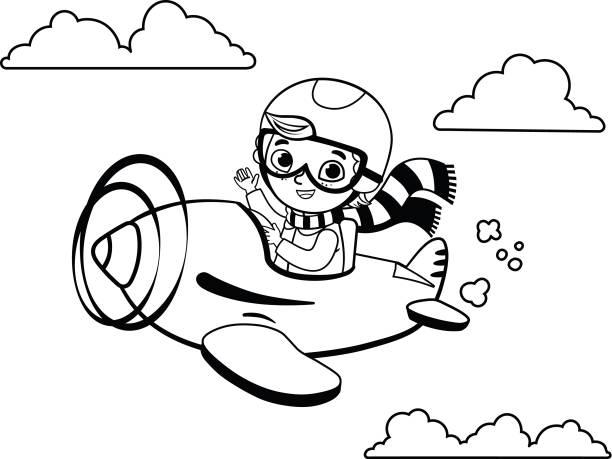 Vectores de Libro Para Colorear Con Dibujos Animados De Piloto y ...