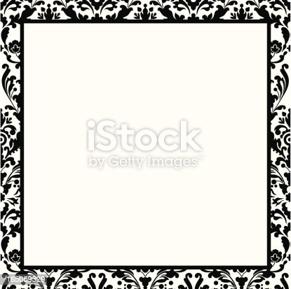 Black And White Damask Border Stock Vector Art More Images Of Arts Culture Entertainment 165059329