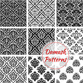 Damask seamless pattern background. Black and white floral ornament set of baroque flower, decorated by victorian flourishes and leaf scroll. Vintage pattern for wallpaper or textile design