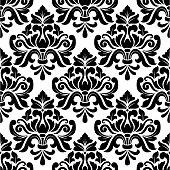 Black and white damask seamless pattern