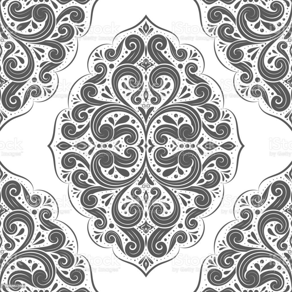 Ilustración de Blanco Y Negro Del Damasco De Patrones Sin Fisuras ...