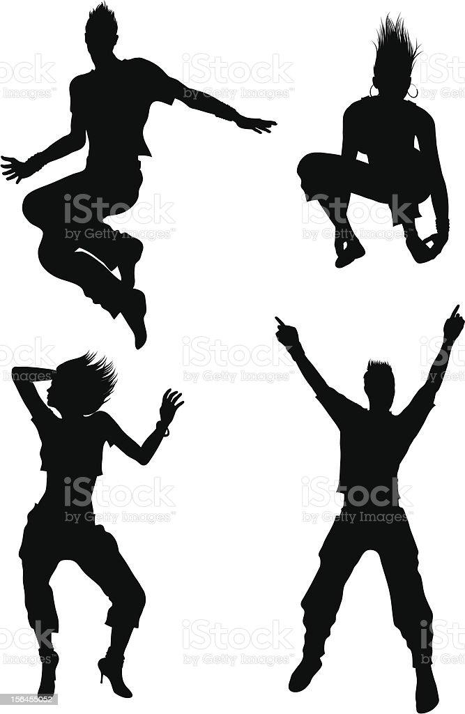 Black and white dancer silhouettes vector art illustration