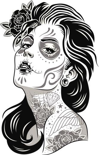 Black and White Day of Dead Girl Vector Illustration