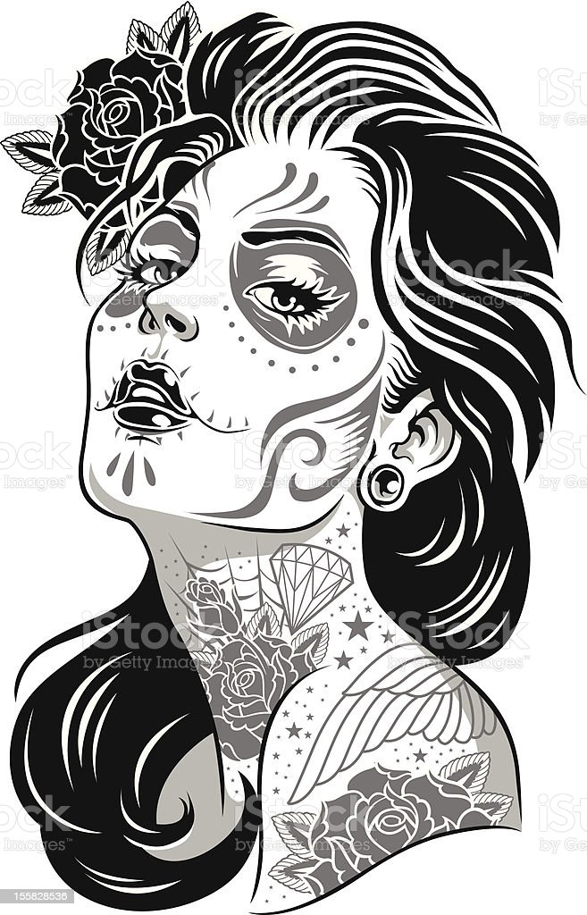 Black and White Day of Dead Girl Vector Illustration vector art illustration