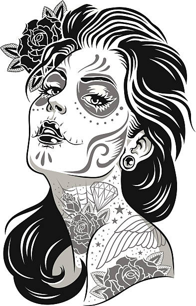 Black and White Day of Dead Girl Vector Illustration Black and White Day of Dead Girl Vector Illustration voodoo stock illustrations