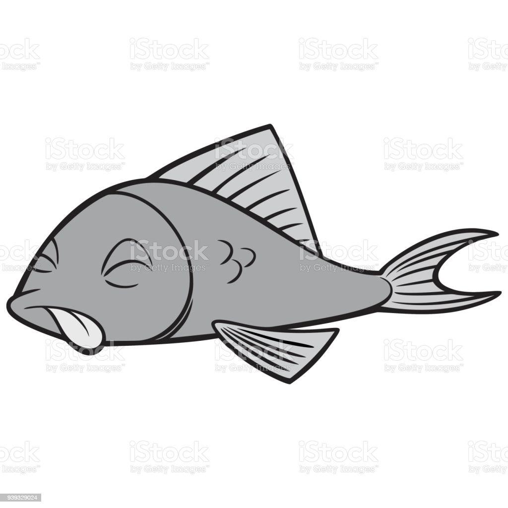 Black And White Dead Fish vector art illustration