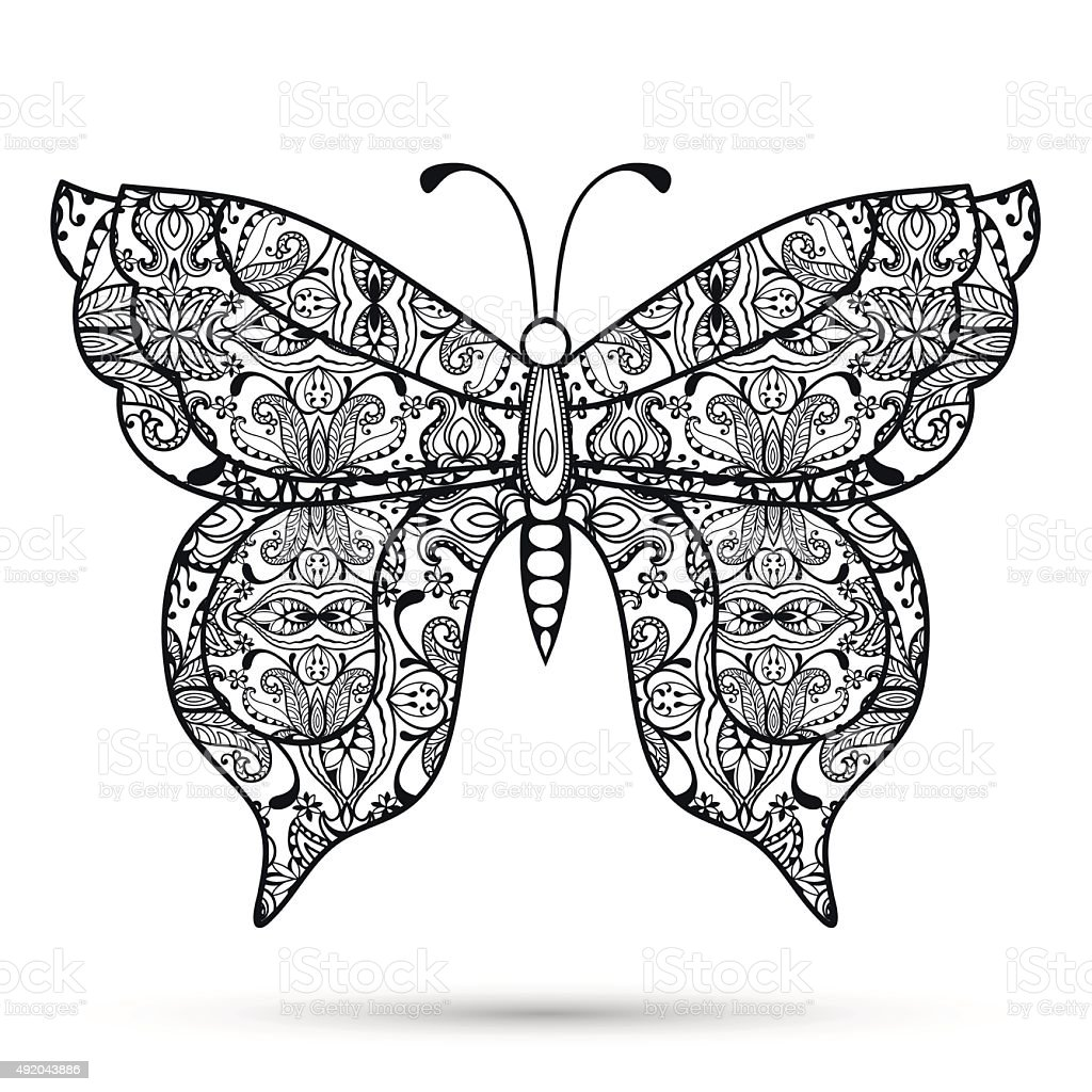Black And White Decorative Butterfly Hand Drawn Sketch