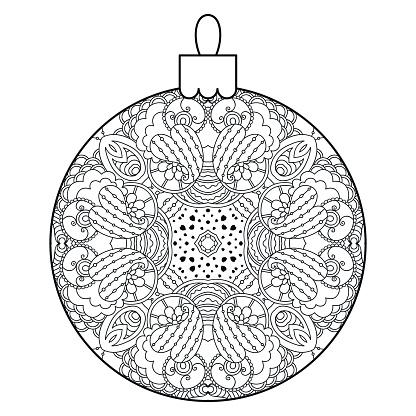 Black and white decorative Christmas ball.