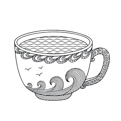 Black and white decorative cup of tea.