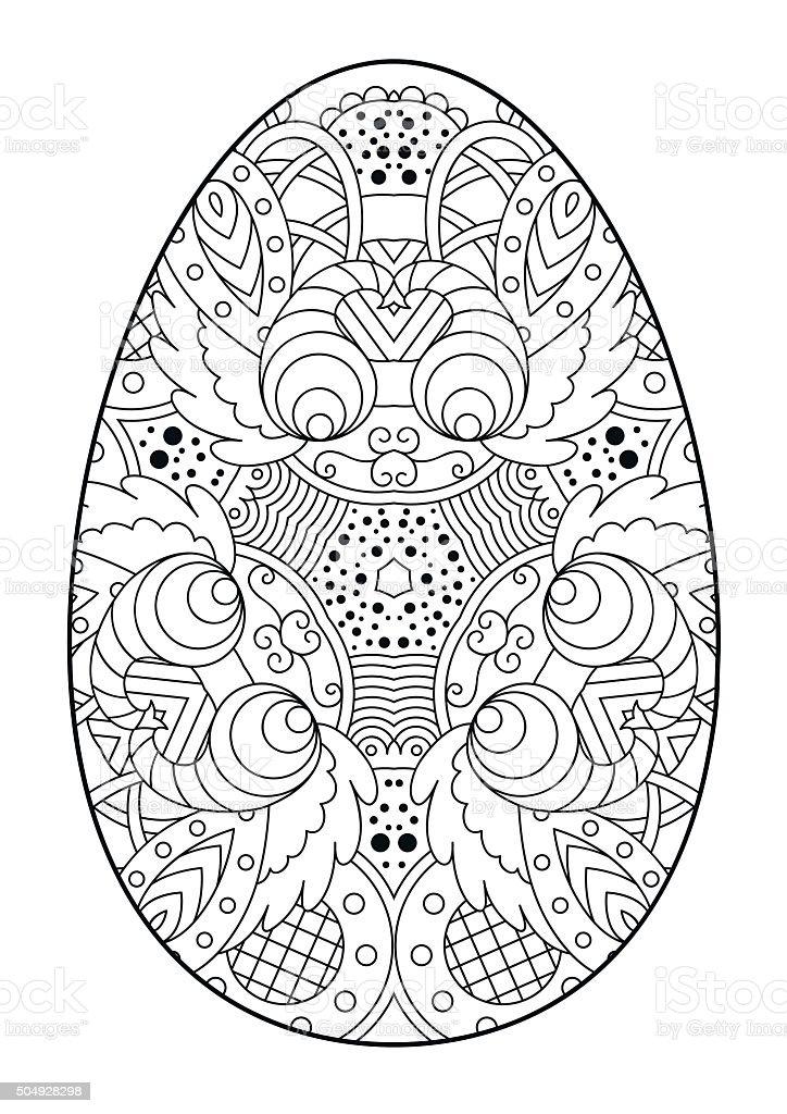 Ilustración de Zentangle Blanco Y Negro Decorativos Huevo De Pascua ...