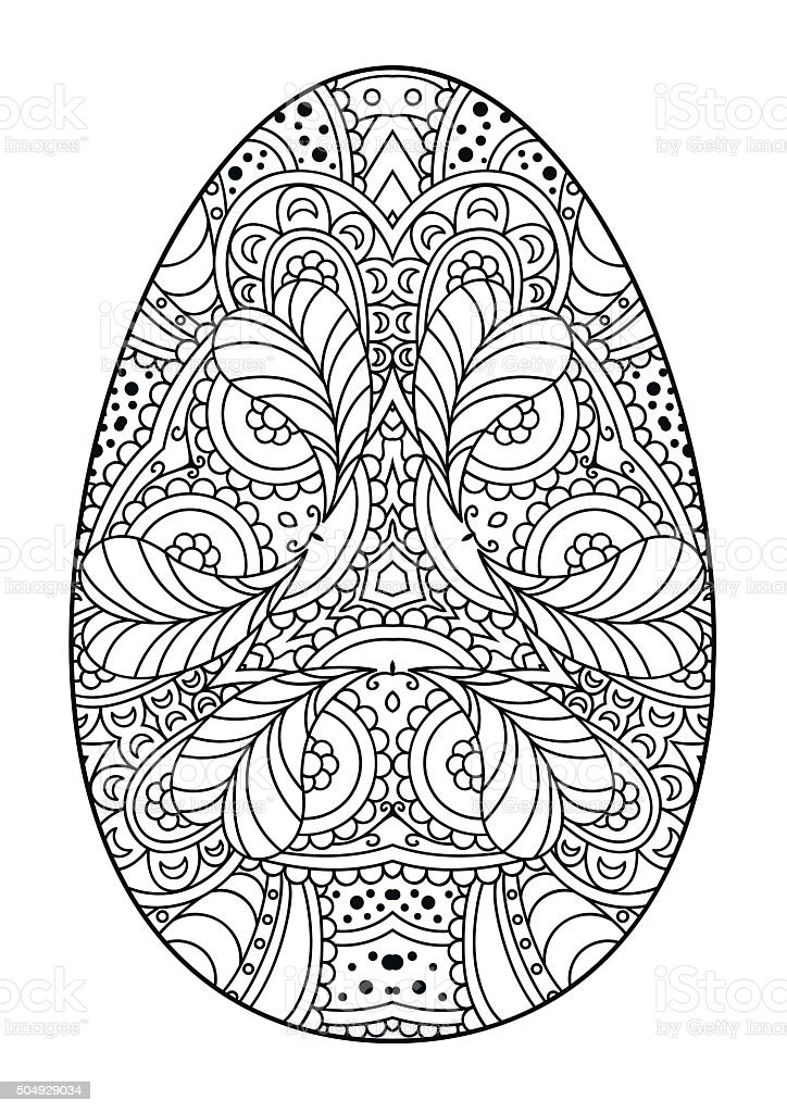 Black And White Decorative Easter Egg Stockvectorbeelden 504929034