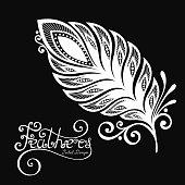 Black and white decorative feather vector design